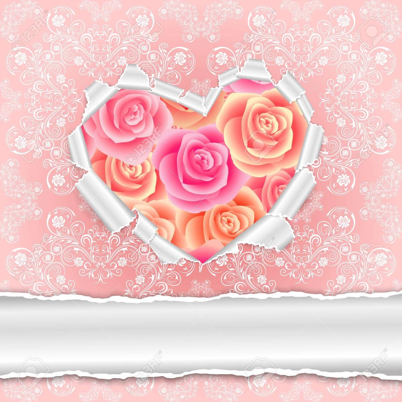 Illustration Der Vorlage Für Hochzeit, Gruß, Einladung Oder  Valentinstag Karte Mit Zerrissenem Papier