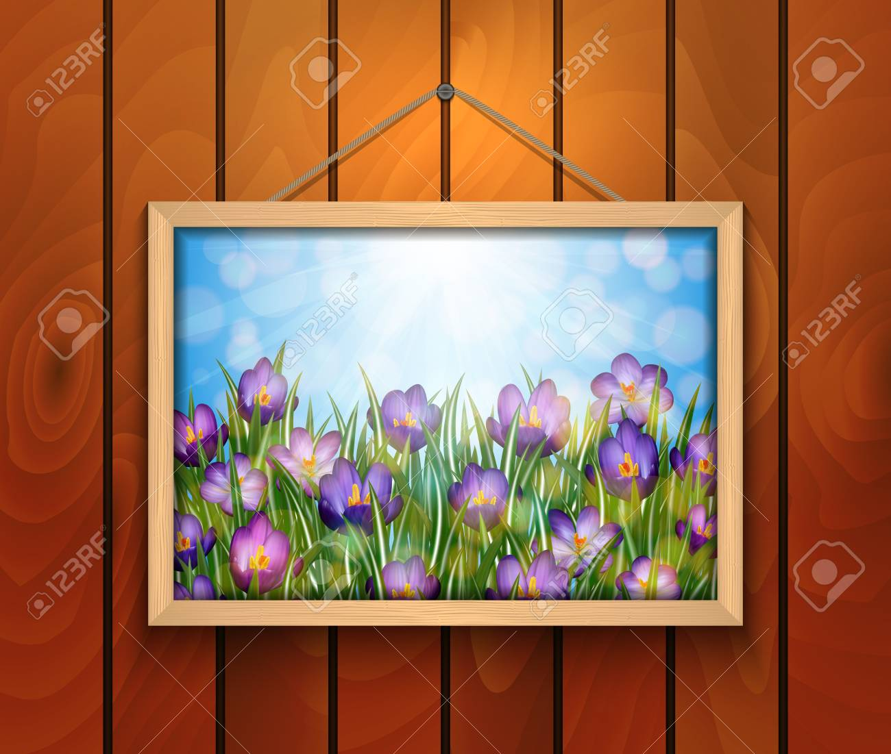 Illustration Of Purple Crocus Flowers In Picture Frame Hanging