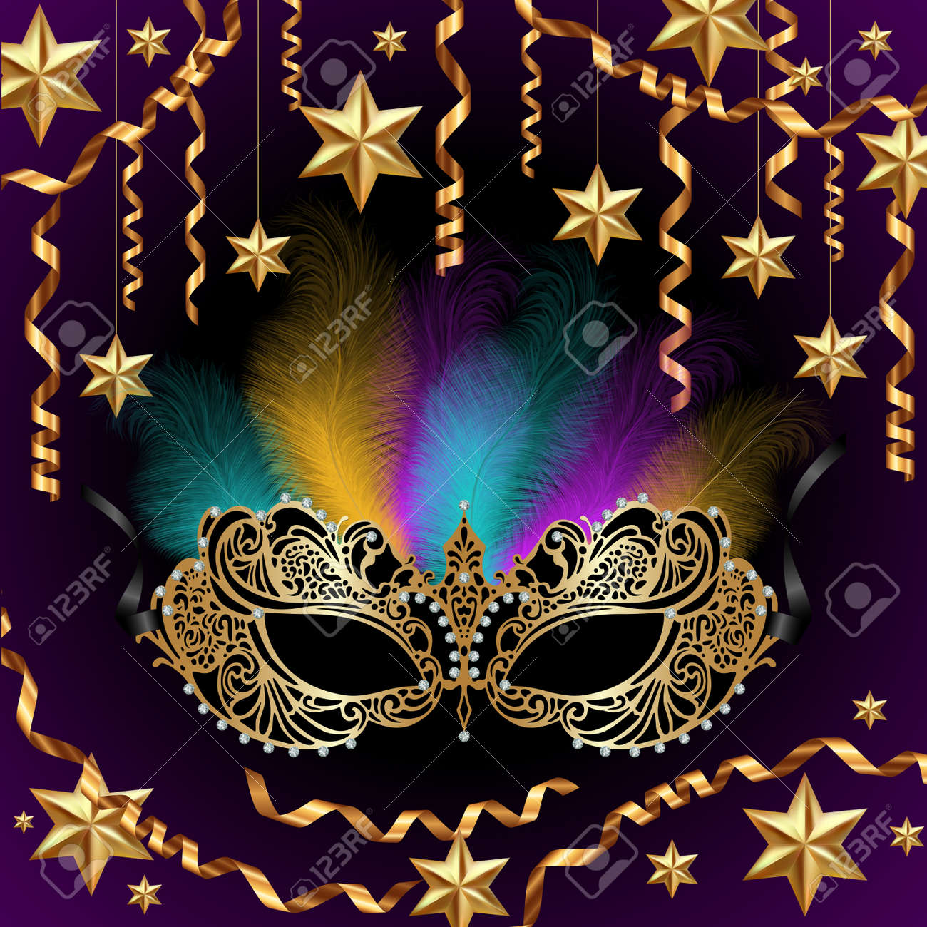 Illustration of card template with carnival mask, feathers, golden stars and streamers - 169179333