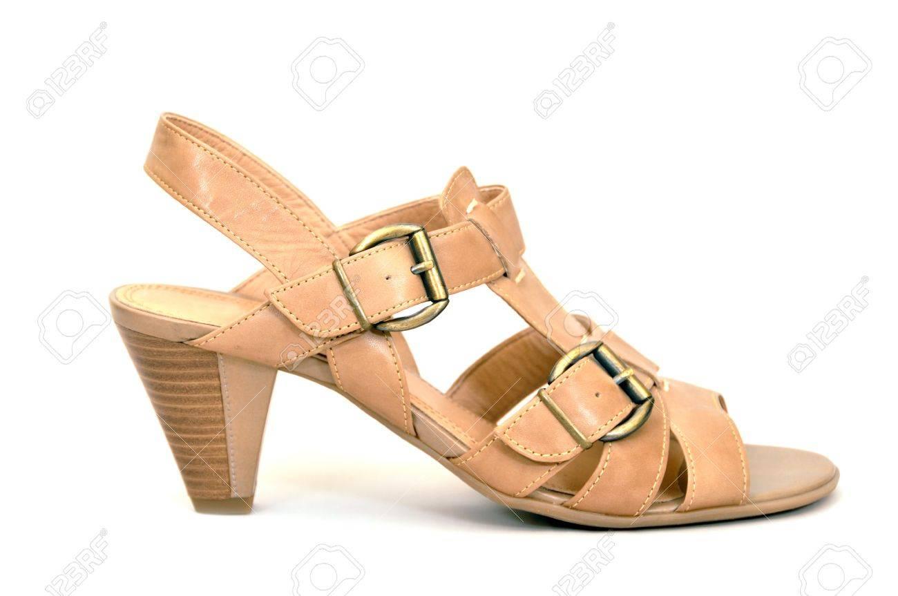 Beige stylish women's shoes on a white background Stock Photo - 15015008