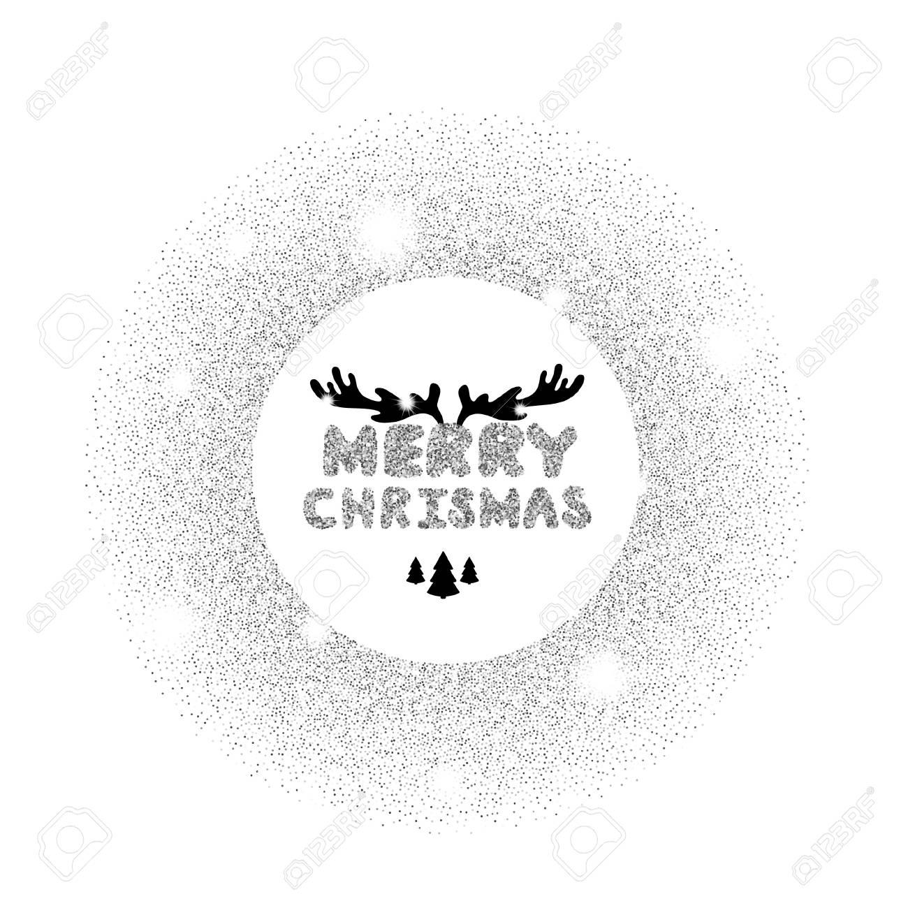 Silber Inschrift: Frohe Weihnachten. Silber Funkelt Auf Einem Weißen ...