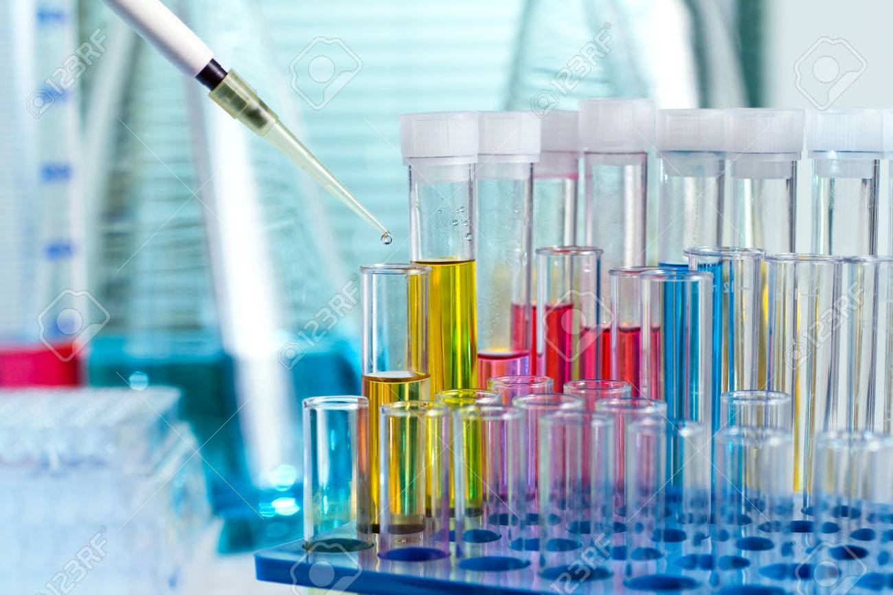 Table with glass material scientist and equipment technical in chemical lab - 25325779