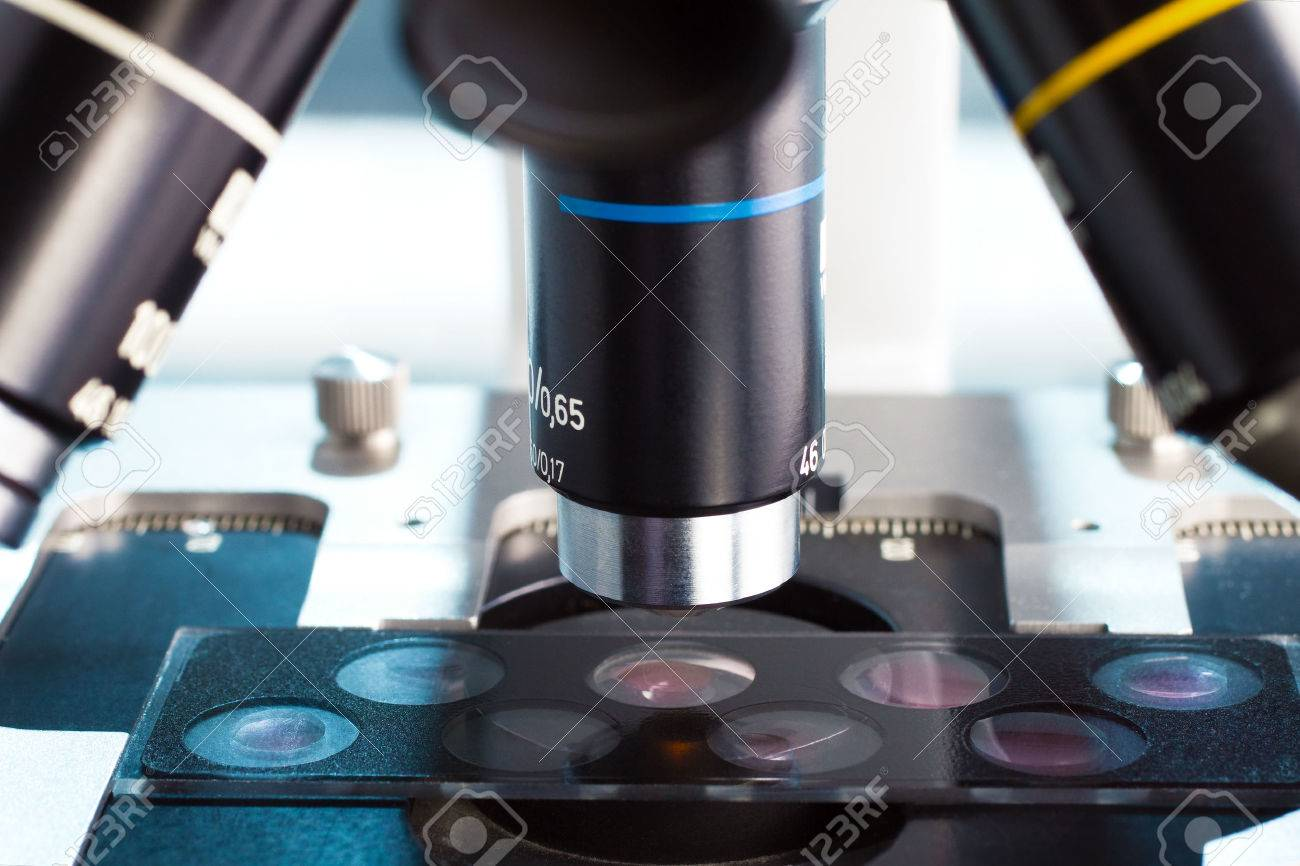 detail of microscope lenses observing a slide with sample wells in the laboratory - 31822860