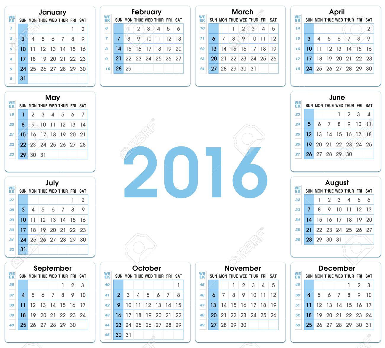 Calendrier Avec Numero Semaine.Calendrier 2016 12 Mois En Indiquant Le Numero Des Semaines 2016 Calendrier Avec Semaines Carre De Format