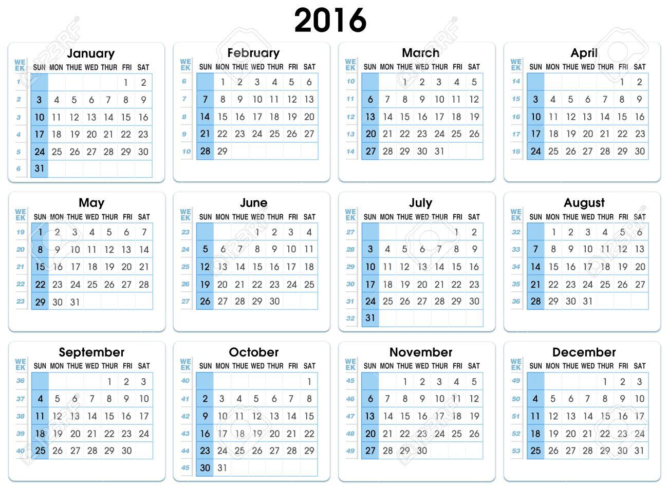 Calendrier Avec Numero Semaine.Calendrier 2016 12 Mois En Indiquant Le Numero Semaines 2016 Calendrier Avec Nombre Semaines
