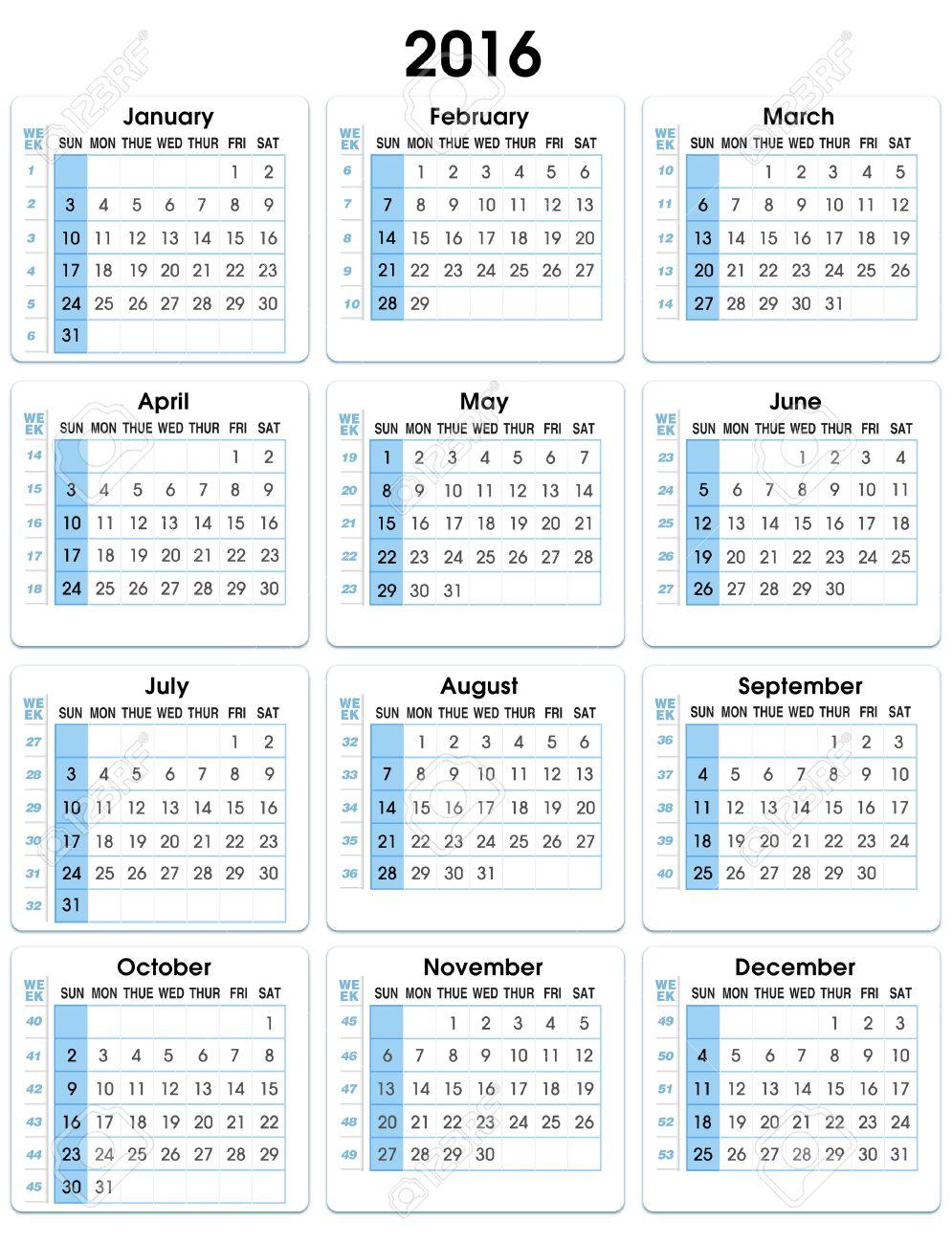 calendar vertical 2016 12 months indicating number weeks vertical