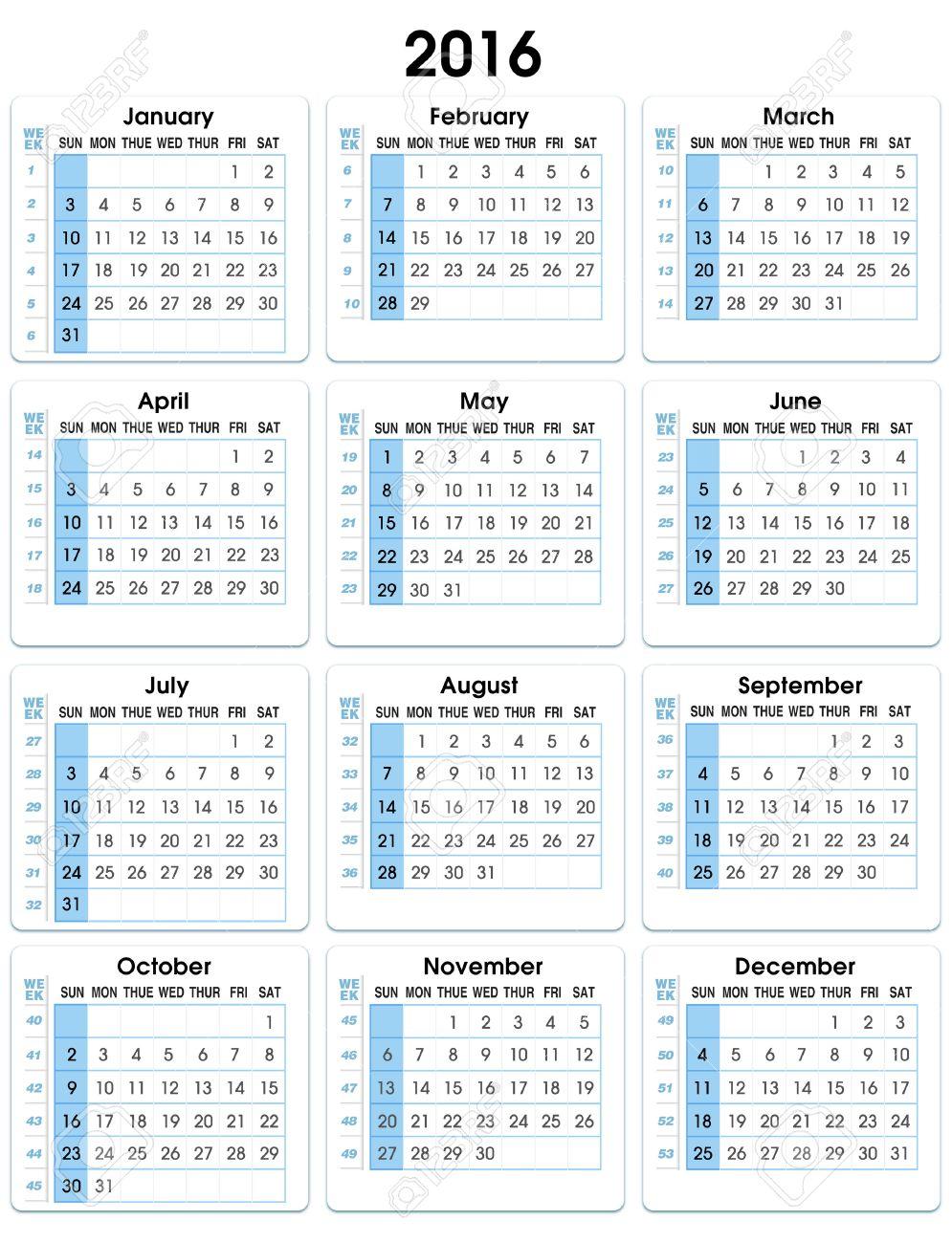 Calendario De Semanas.Calendario Vertical 2016 12 Meses Indicando El Numero De Semanas De Calendario Vertical De 2016 Semanas