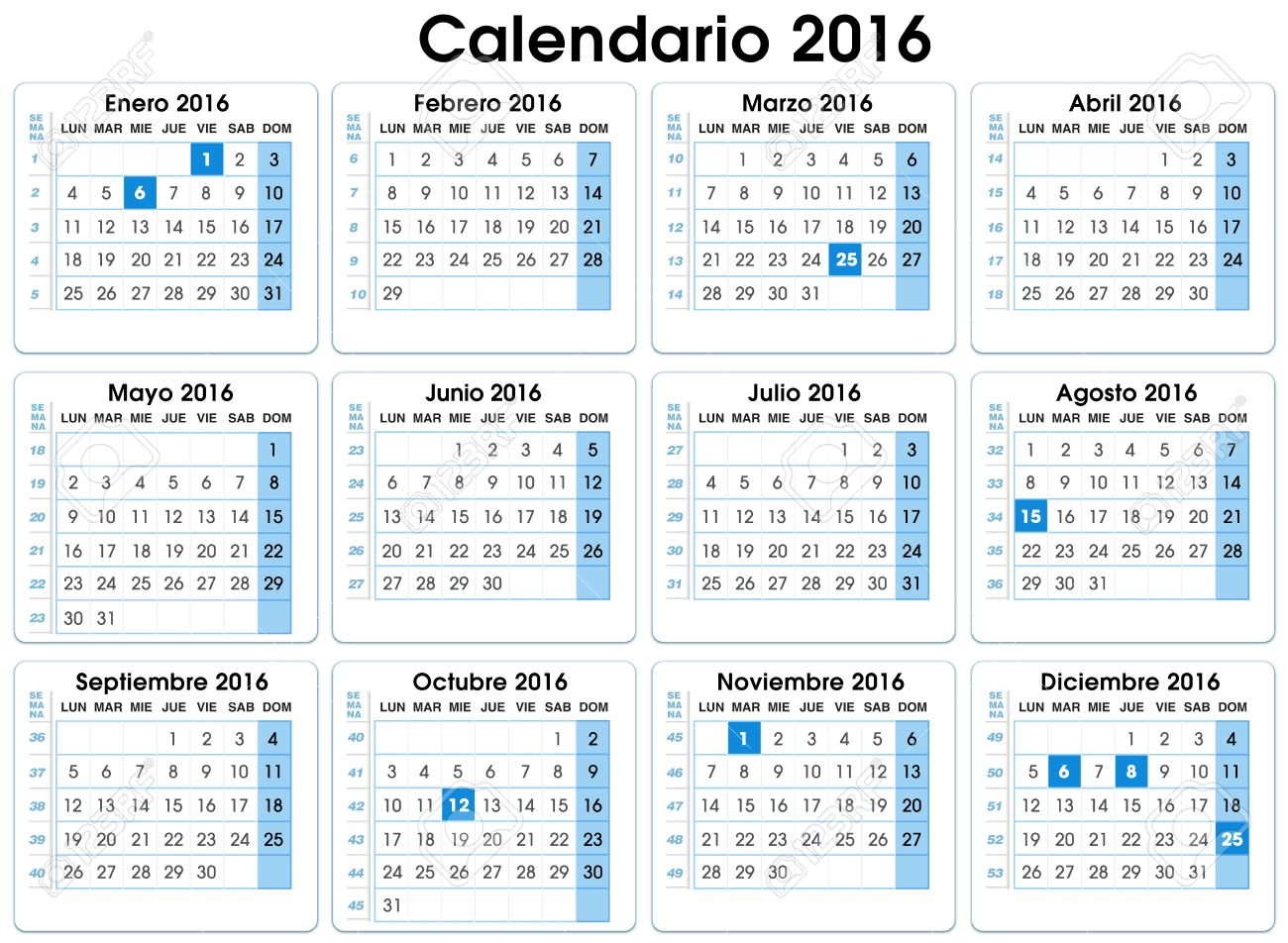 calendar vertical 2016 spanish 12 months indicating number