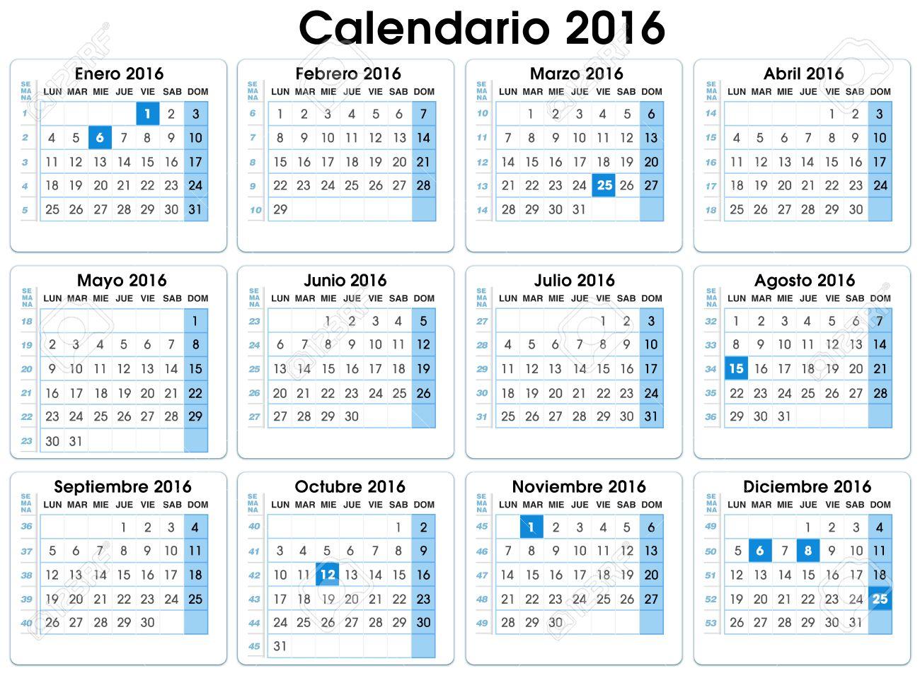 Calendrier Avec Numero Semaine.Calendrier Verticale 2016 Espagnol 12 Mois En Indiquant Le Numero Semaines Calendrier 2016 Espagnol Avec Des Semaines Et Des Partis