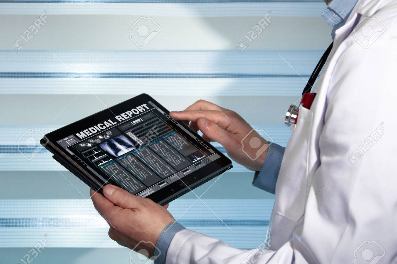 practitioner with a medical record health on the screen a digital device / doctor with tablet data consulting a medical report of a patient - 59194930