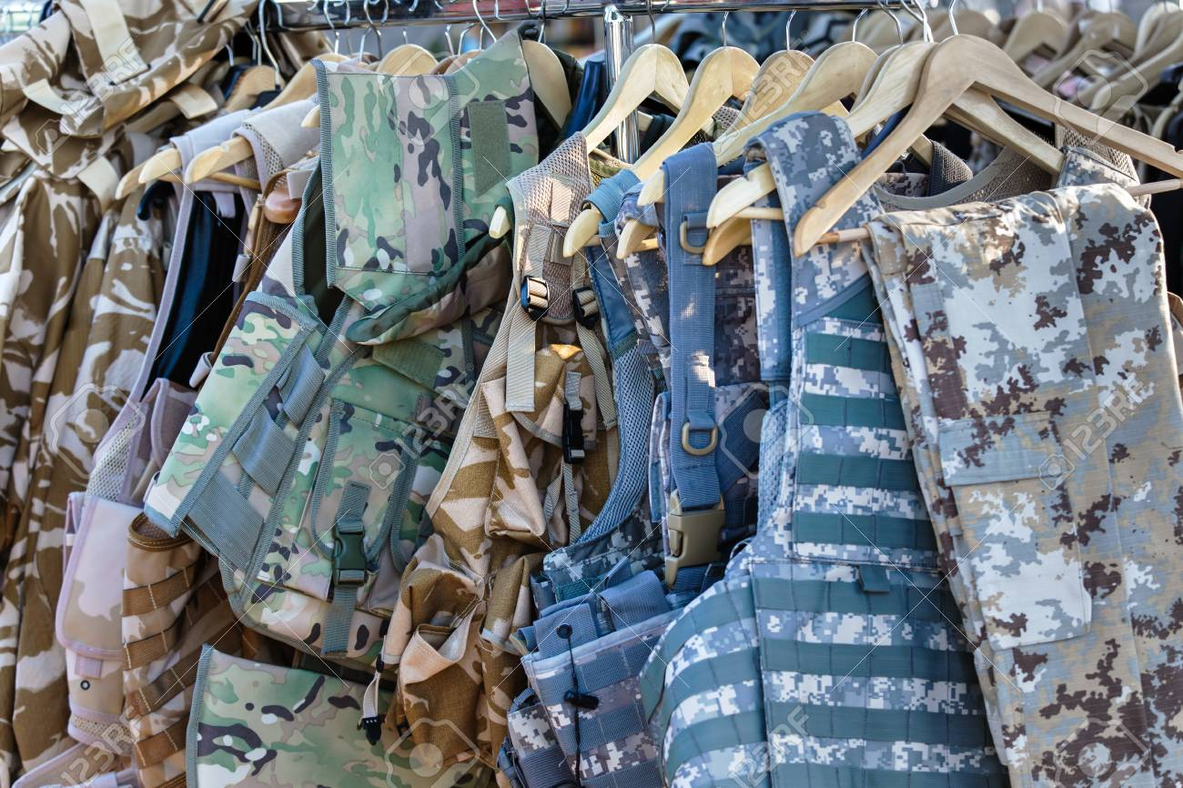 7f2e0506c5918 Sampling of various camouflage vests / vests camouflage clothing Stock  Photo - 88531565