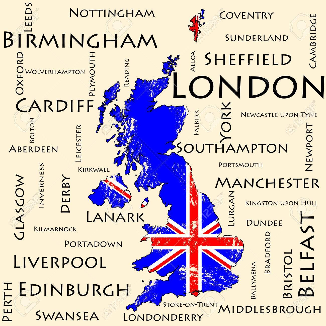 Immagini Della Cartina Della Gran Bretagna.Vettoriale Mappa Della Gran Bretagna Bandiera Il Nome Delle Piu Grandi Citta Image 49825009