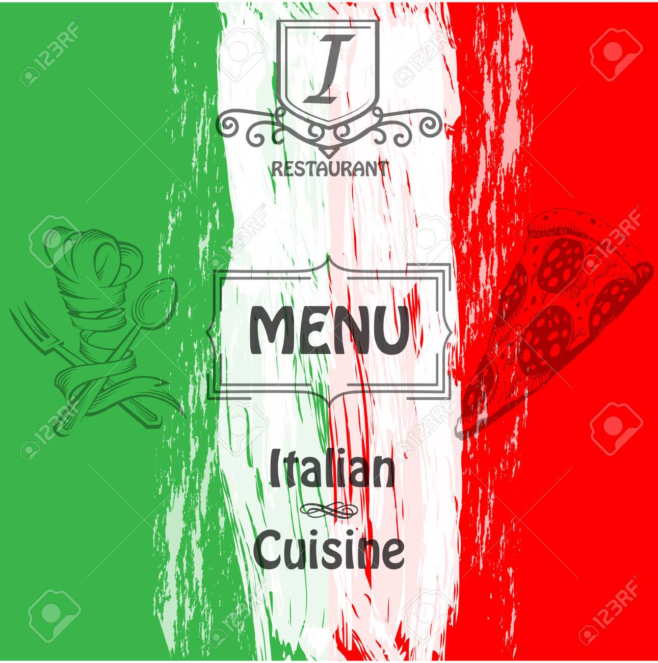 menu. cover for restaurants and cafes italian cuisine. logo. royalty