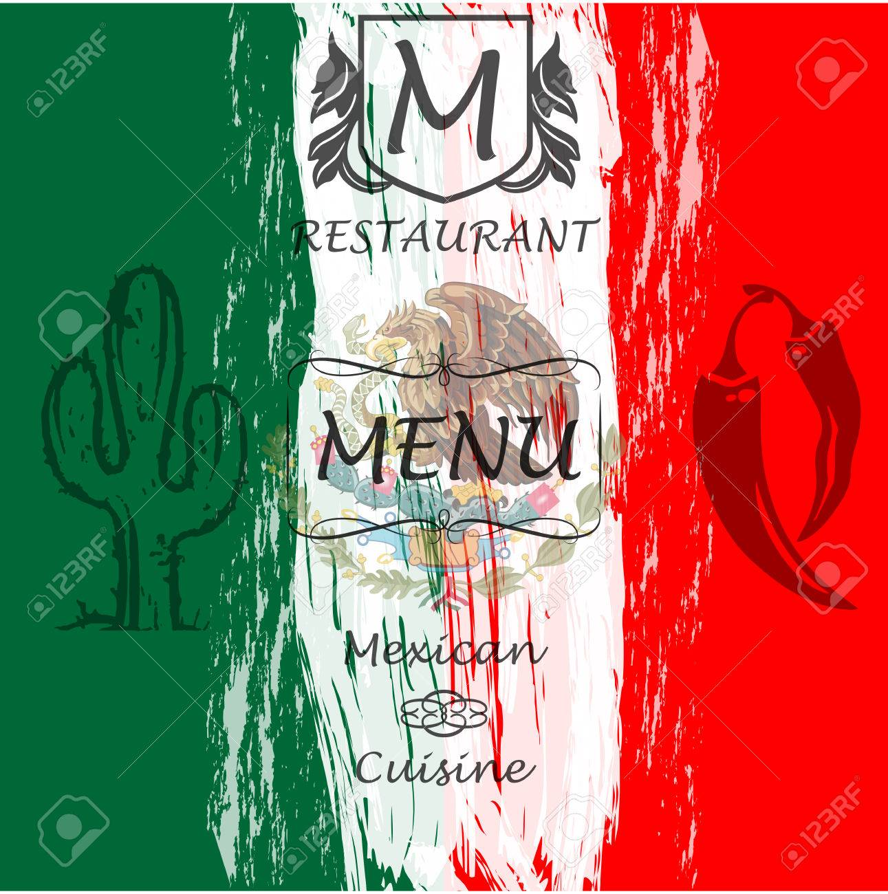 menu. cover for restaurants and cafes mexican cuisine. logo. royalty