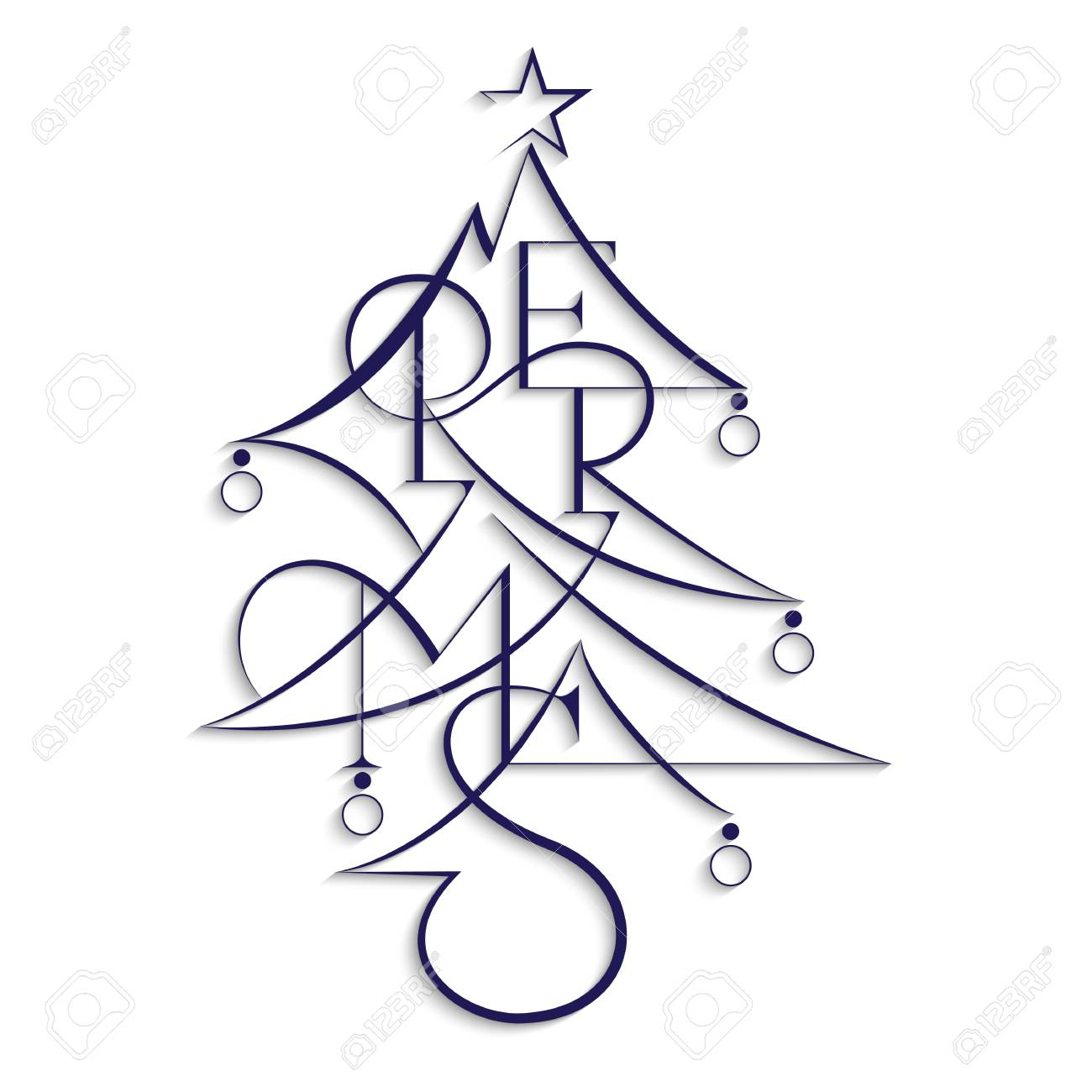 Happy New Year And Merry Christmas Abstract Text Christmas
