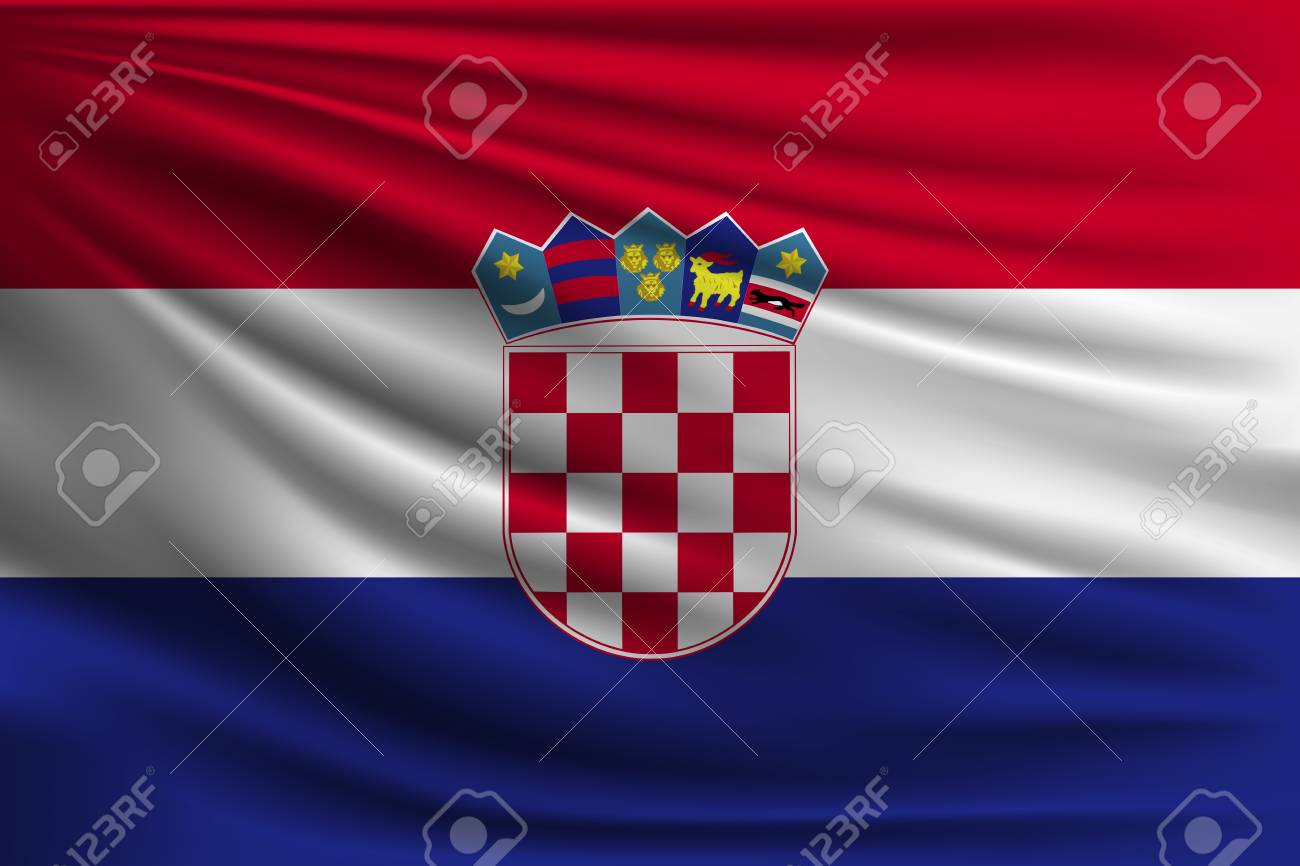 The National Flag Of Croatia The Symbol Of The State On Wavy