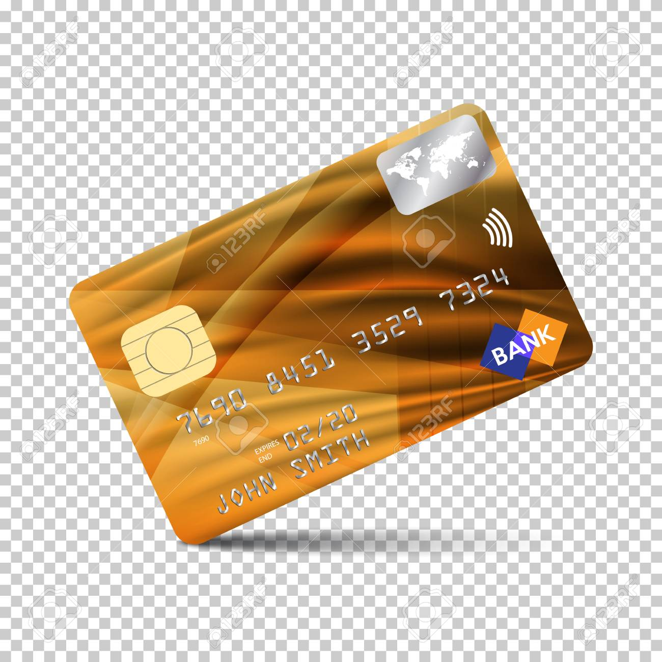 realistic detailed credit card front side vector illustration