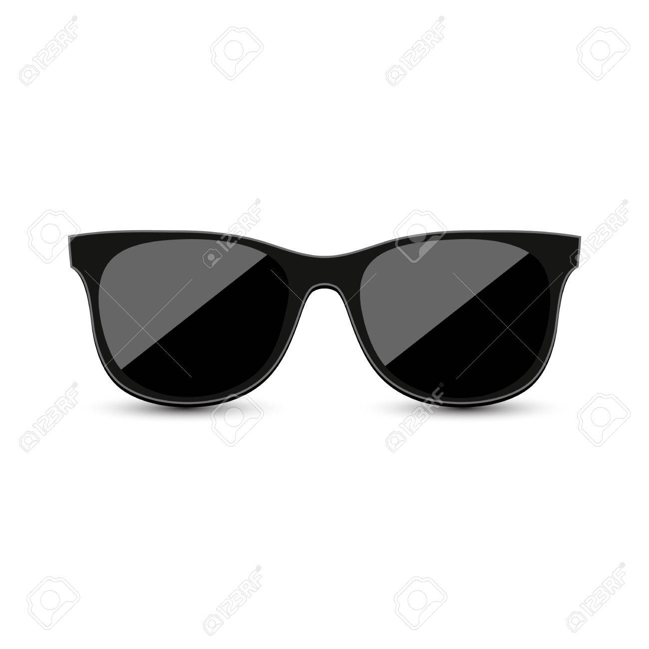 4d819ad9485 Black hipster sunglasses with dark glass on a white background Stock Vector  - 83005539