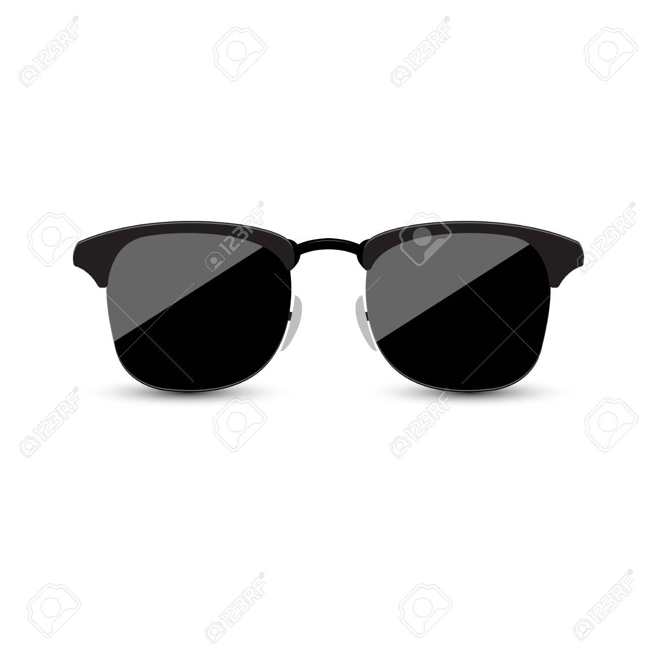 0222d5e14bd74e Black hipster sunglasses with dark glass on a white background Stock Vector  - 83005543