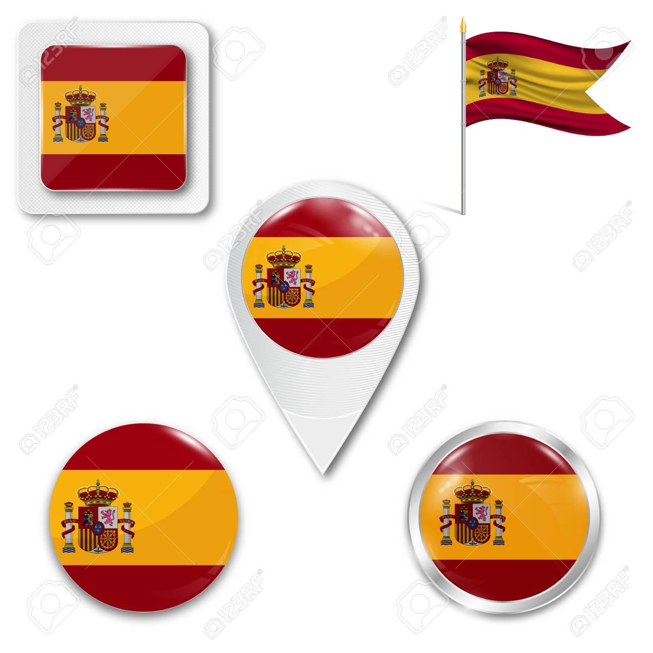 6a5893624e632 Conjunto de iconos de la bandera nacional de España en diferentes diseños  sobre un fondo blanco