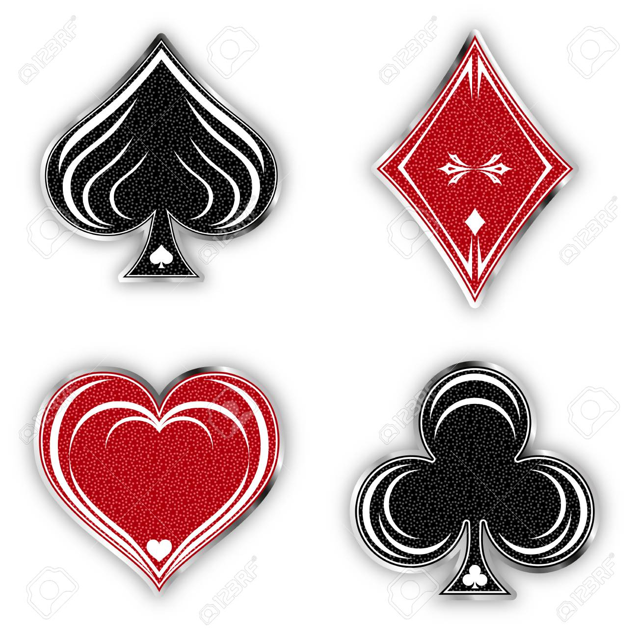 Set Of Symbols Deck Of Cards For Playing Poker And Casino In ...