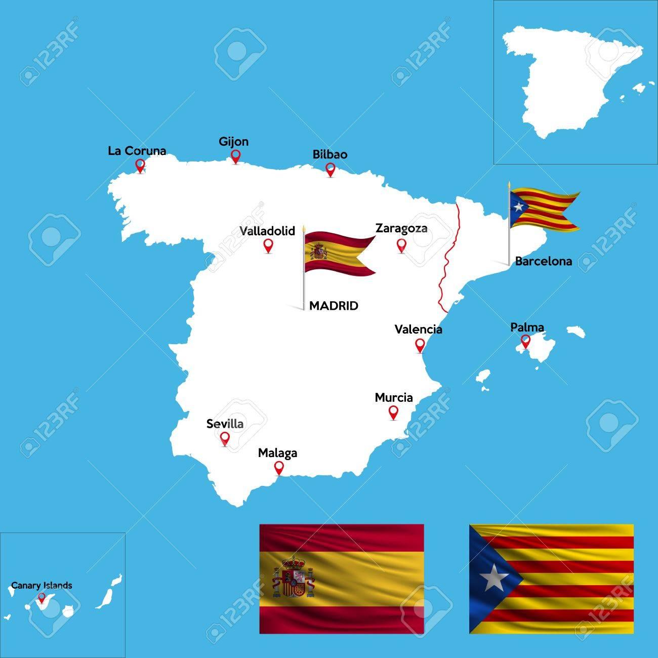 Un Mapa Detallado De Espana Con Los Indices De Las Principales