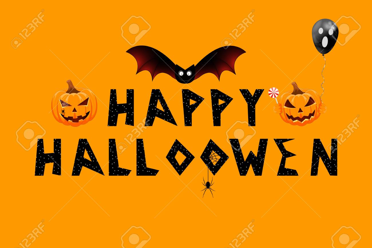 greeting card with happy halloween message royalty free cliparts