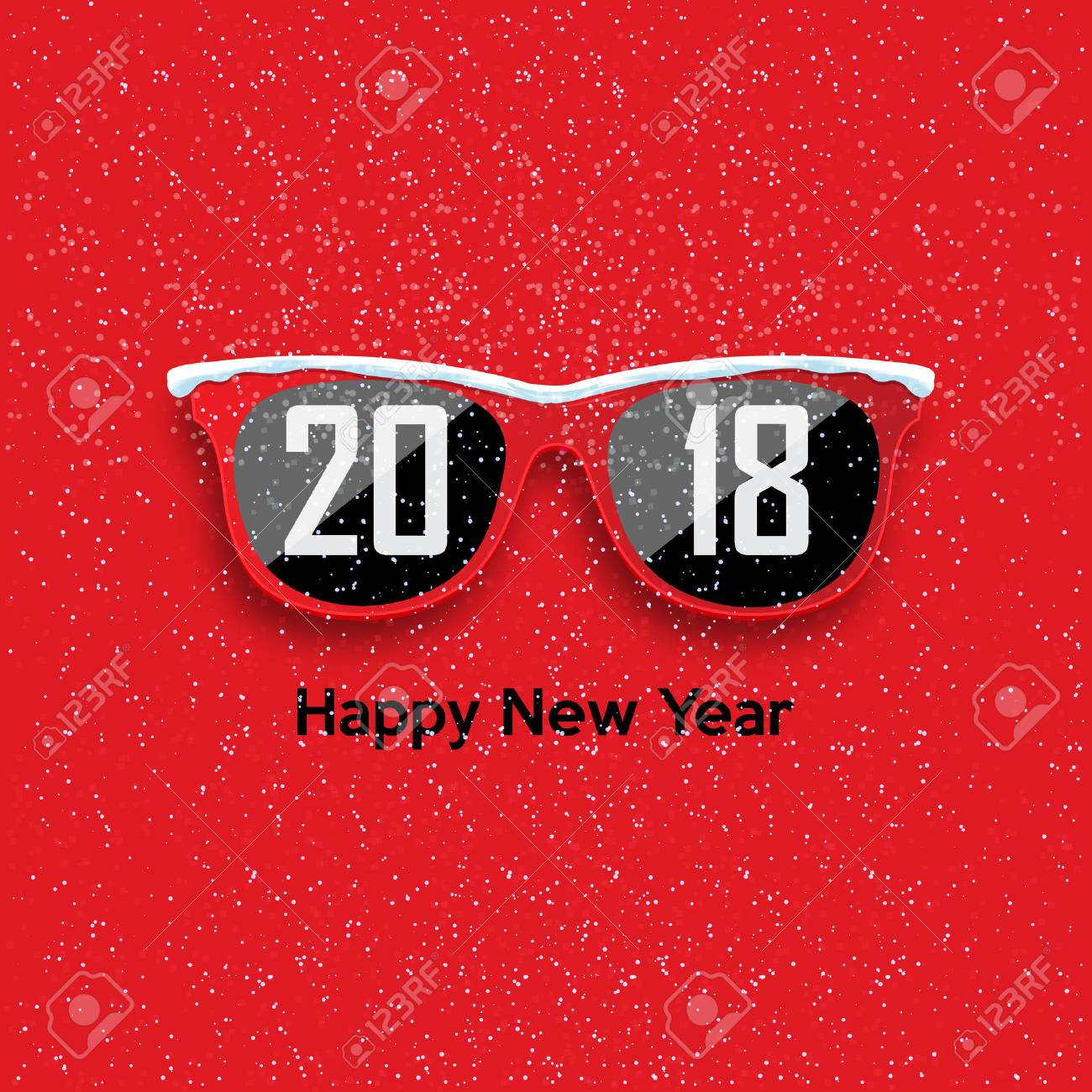 red hipster glasses on a snowfall background happy new year and merry christmas vector