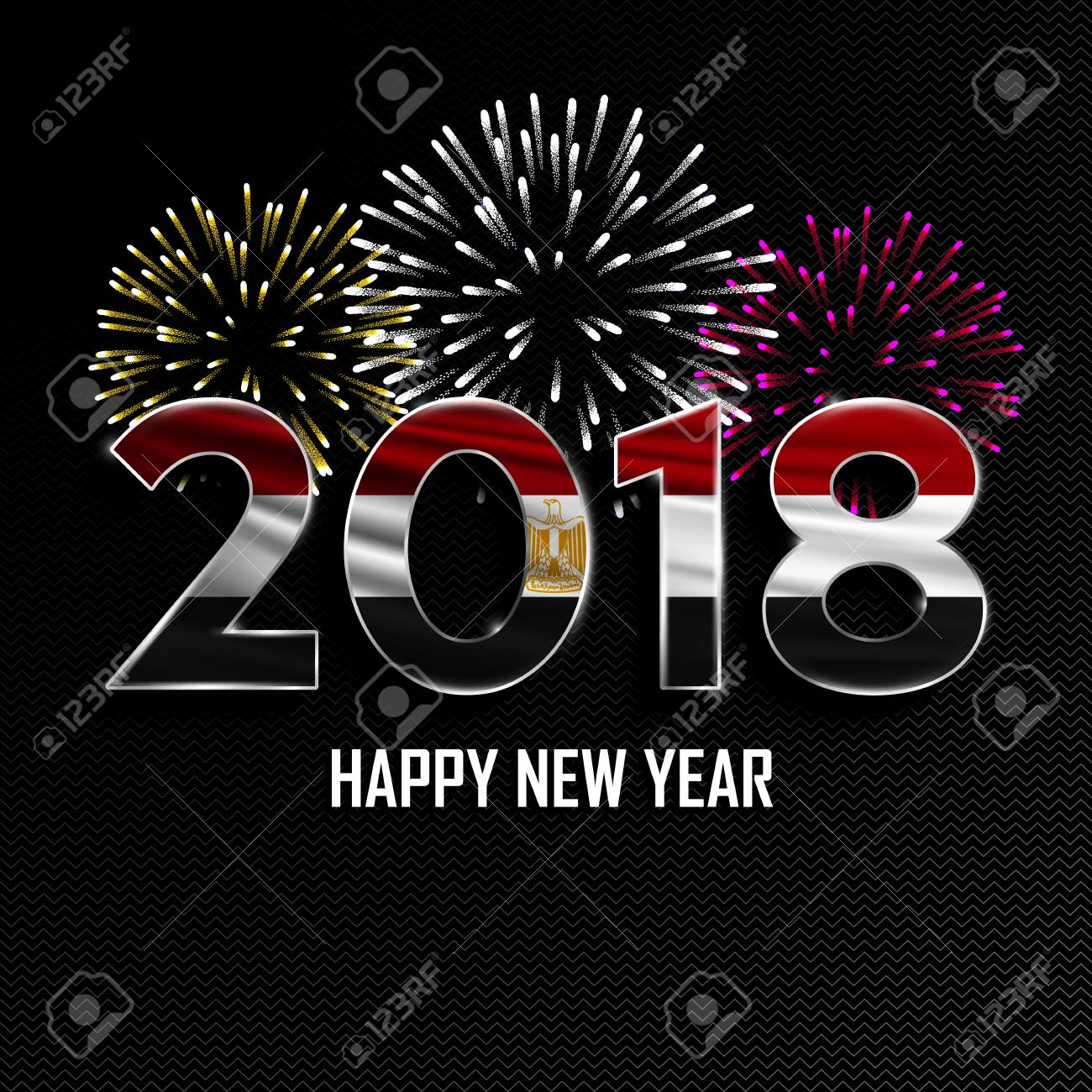 happy new year and merry christmas 2018 new year background with national flag of egypt