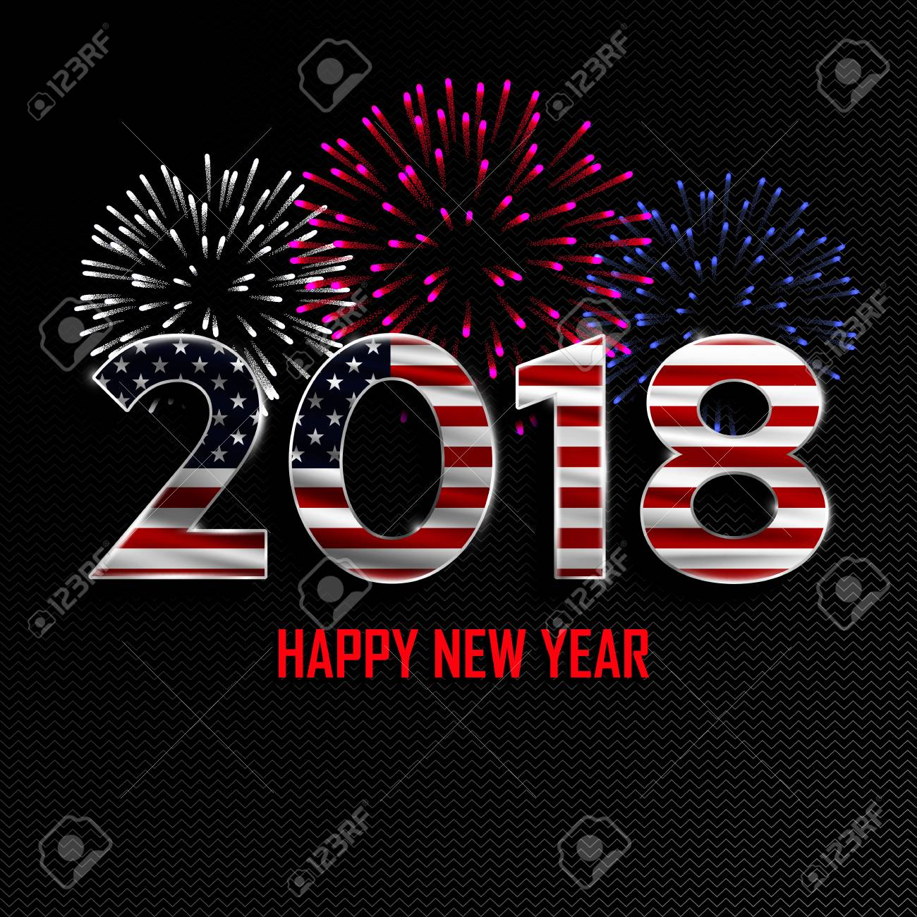 happy new year and merry christmas 2018 new year background with national flag of usa