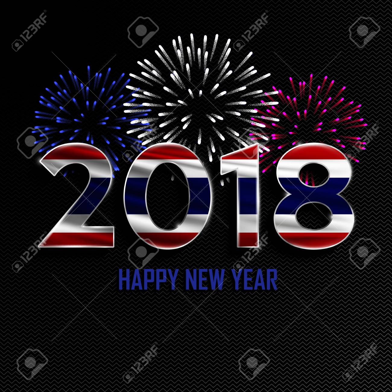 happy new year and merry christmas 2018 new year background with national flag of thailand