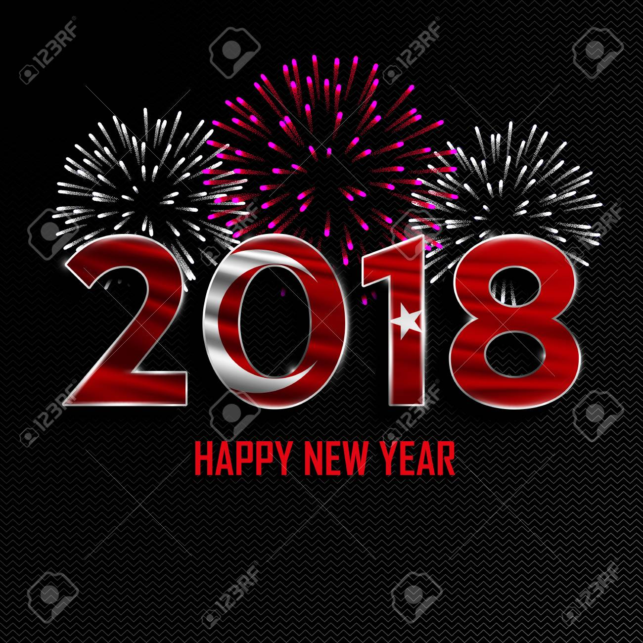 happy new year and merry christmas 2018 new year background with national flag of turkey