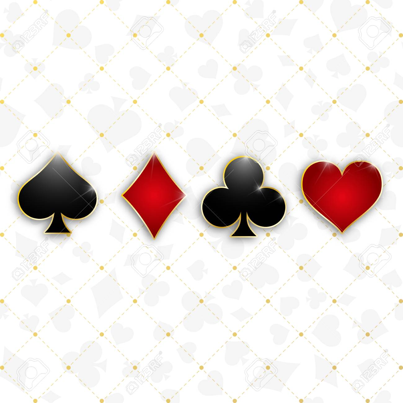 Set Of Symbols Deck Of Cards For Playing Poker And Casino Vector