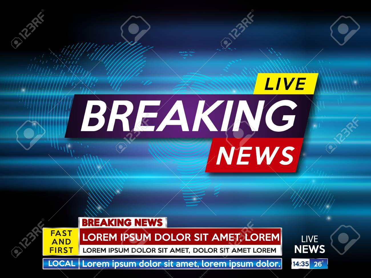 Background Screen Saver On Breaking News Live Blue Technology And World