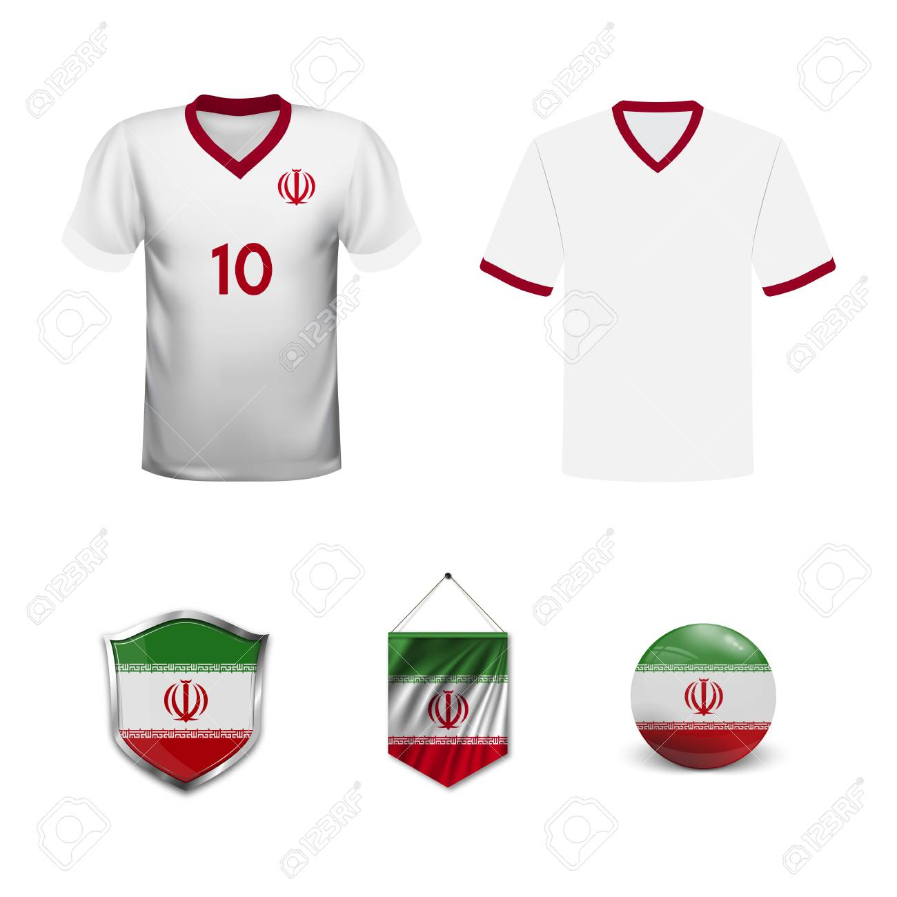 a729a3e96 Set of T-shirts and flags of the national team of Iran. Vector illustration
