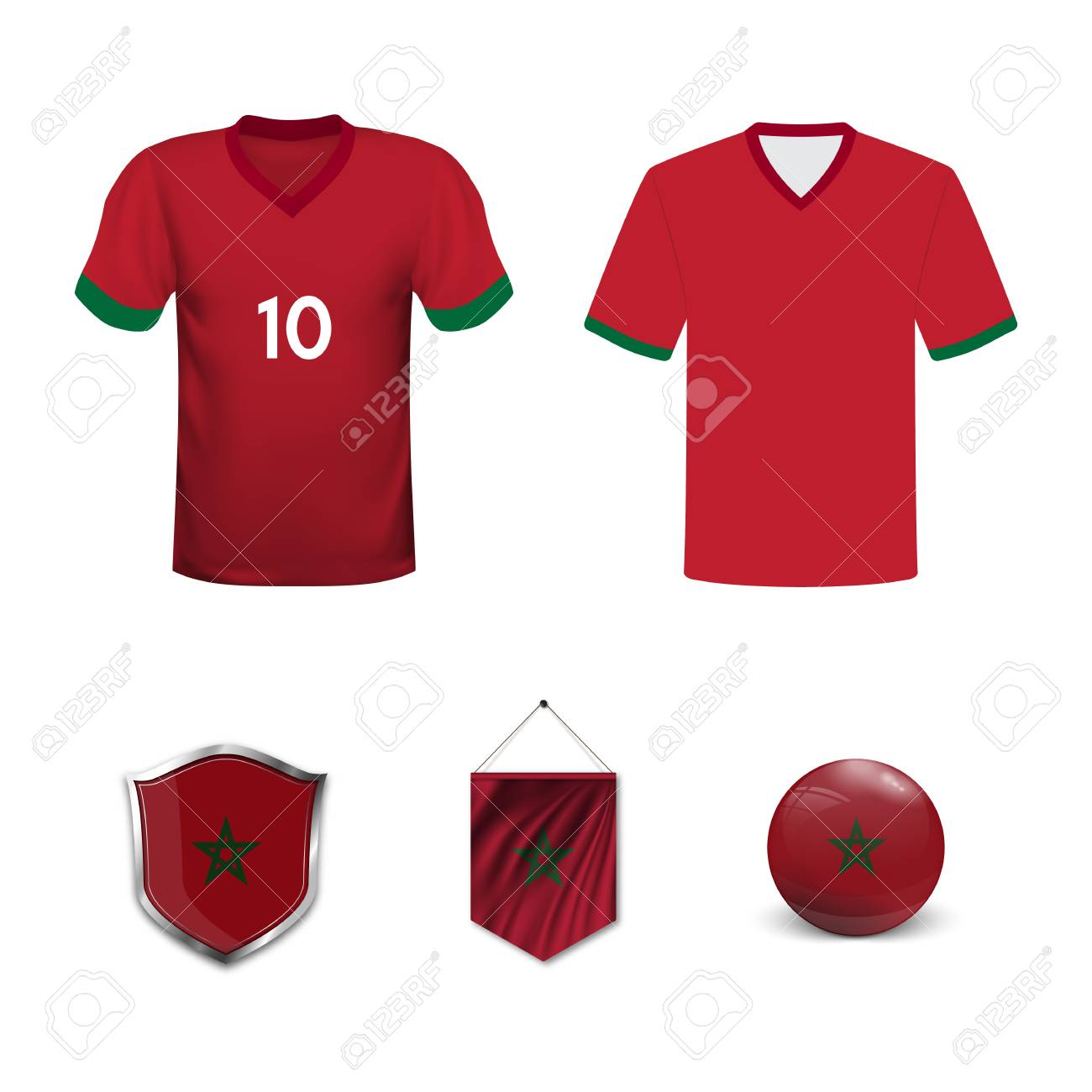 newest ff4bb 91265 Set of T-shirts and flags of the national team of Morocco. Vector..