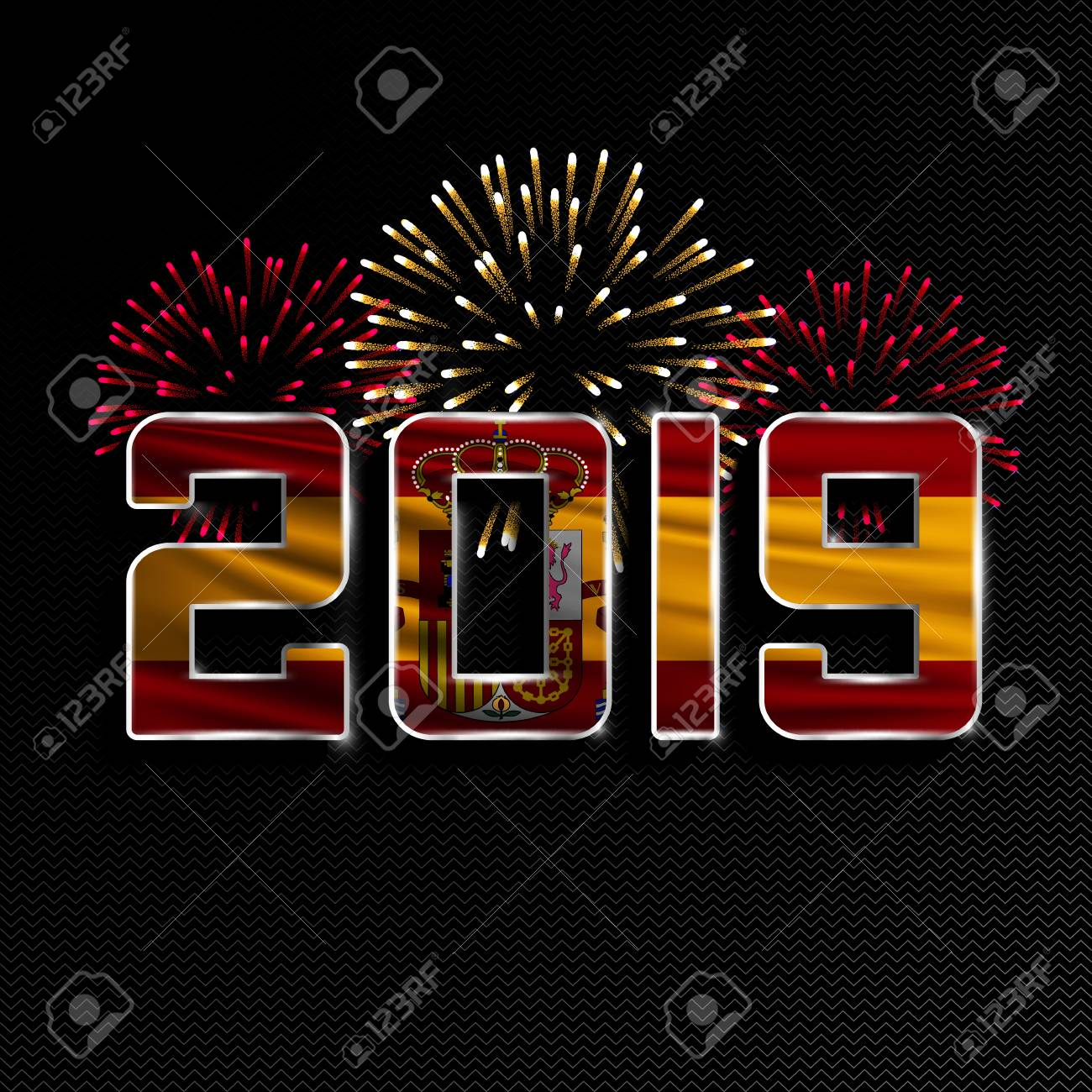Christmas In Spain 2019 Happy New Year And Merry Christmas. 2019 New Year Background