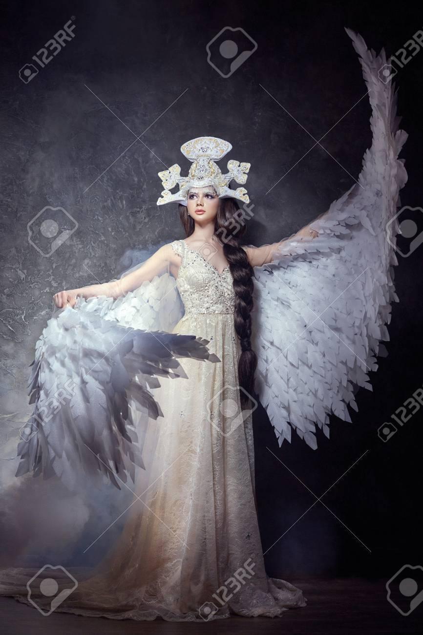 20376c659 Art Angel Girl With Wings Fairy Image. Swan Princess