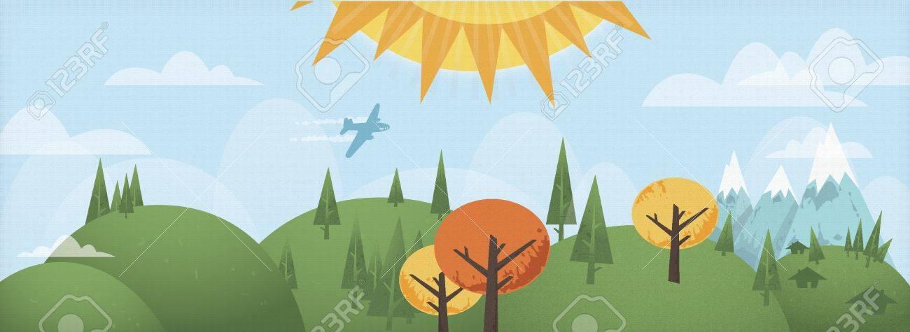 Illustration of cartoon grunge country landscape Stock Vector - 15046531