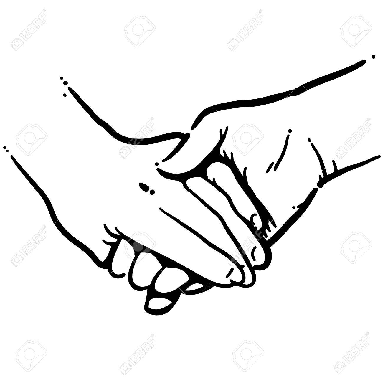 Holding hands black and white vector art stock vector 77613591