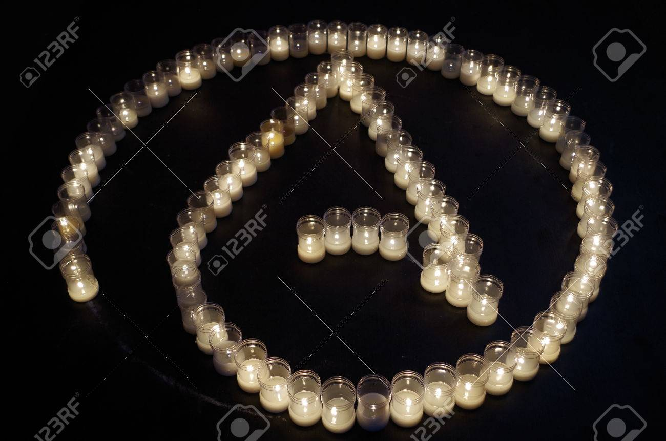 Atheism Symbol Made With Candles Religion And Spirituality Stock