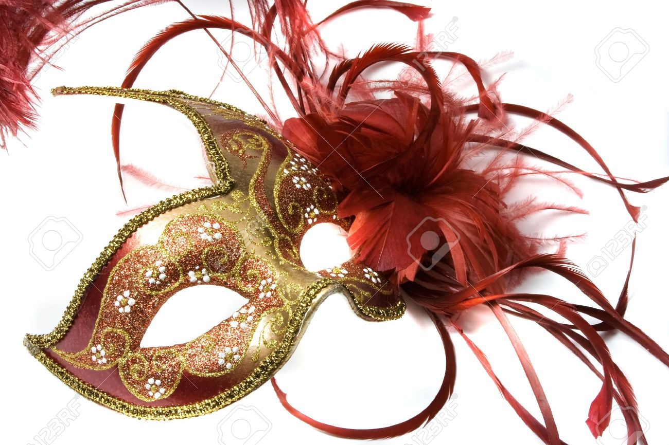 Venetian mask red with gold, isolated on white Stock Photo - 2404957