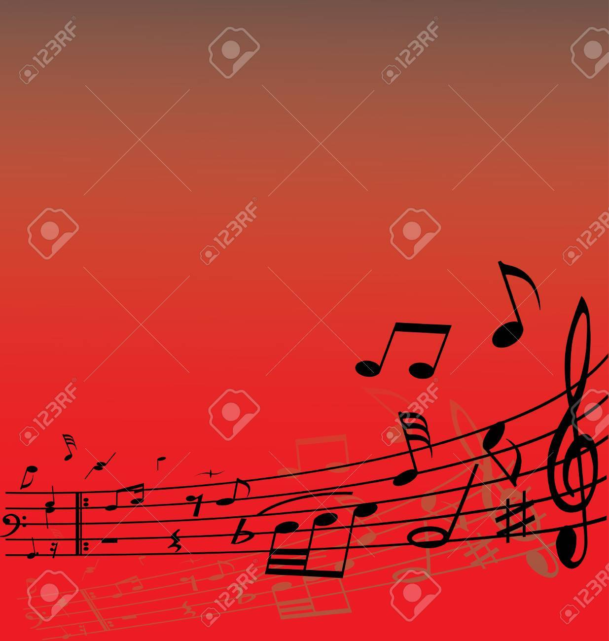 Abstract music background with different notes and lines Stock Vector - 2996156