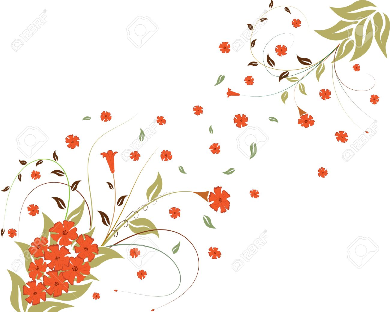 Spring floral vector ornament with leaves and flowers Stock Vector - 3212694