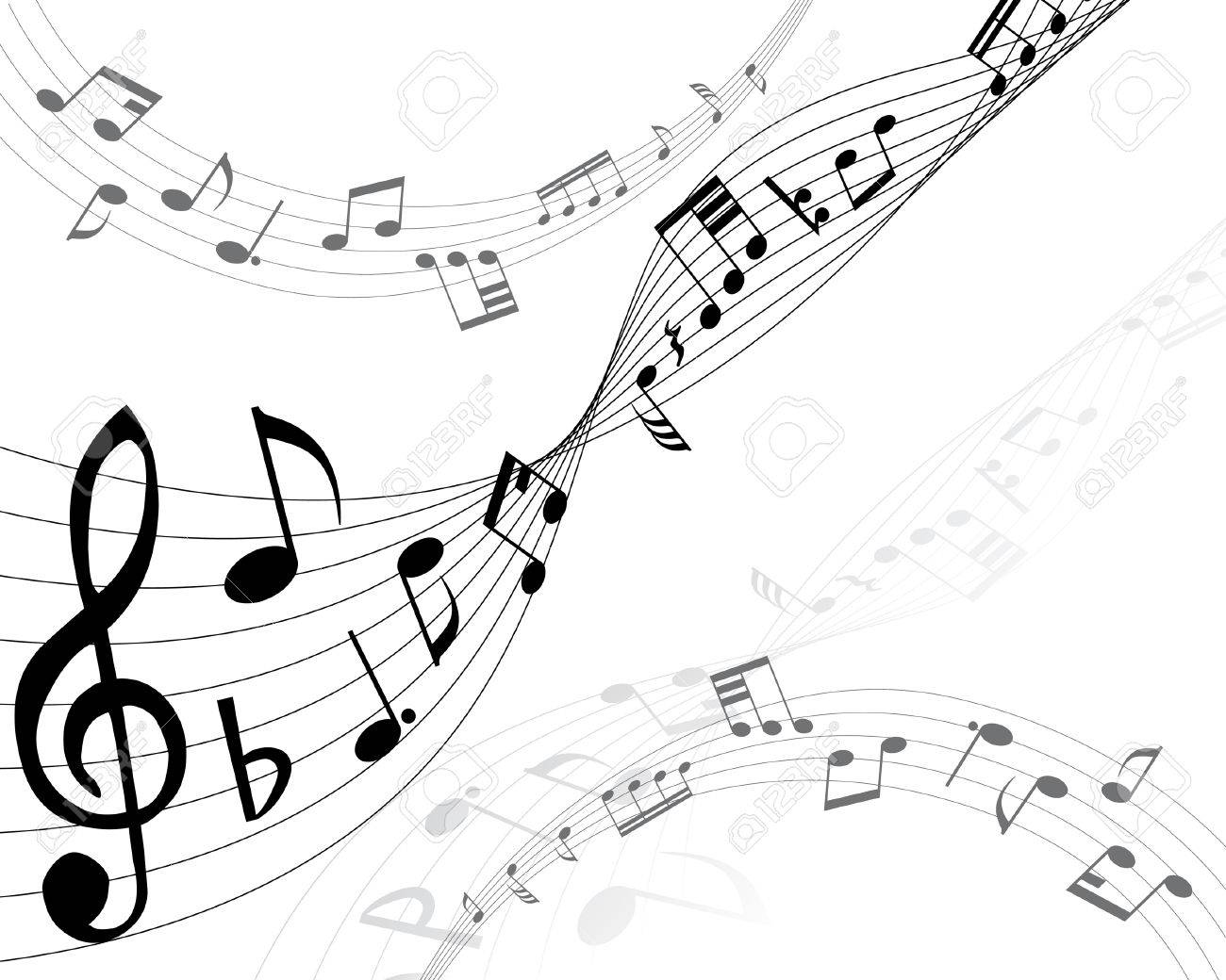 Musical notes background with lines. Vector illustration. Stock Vector - 3410017