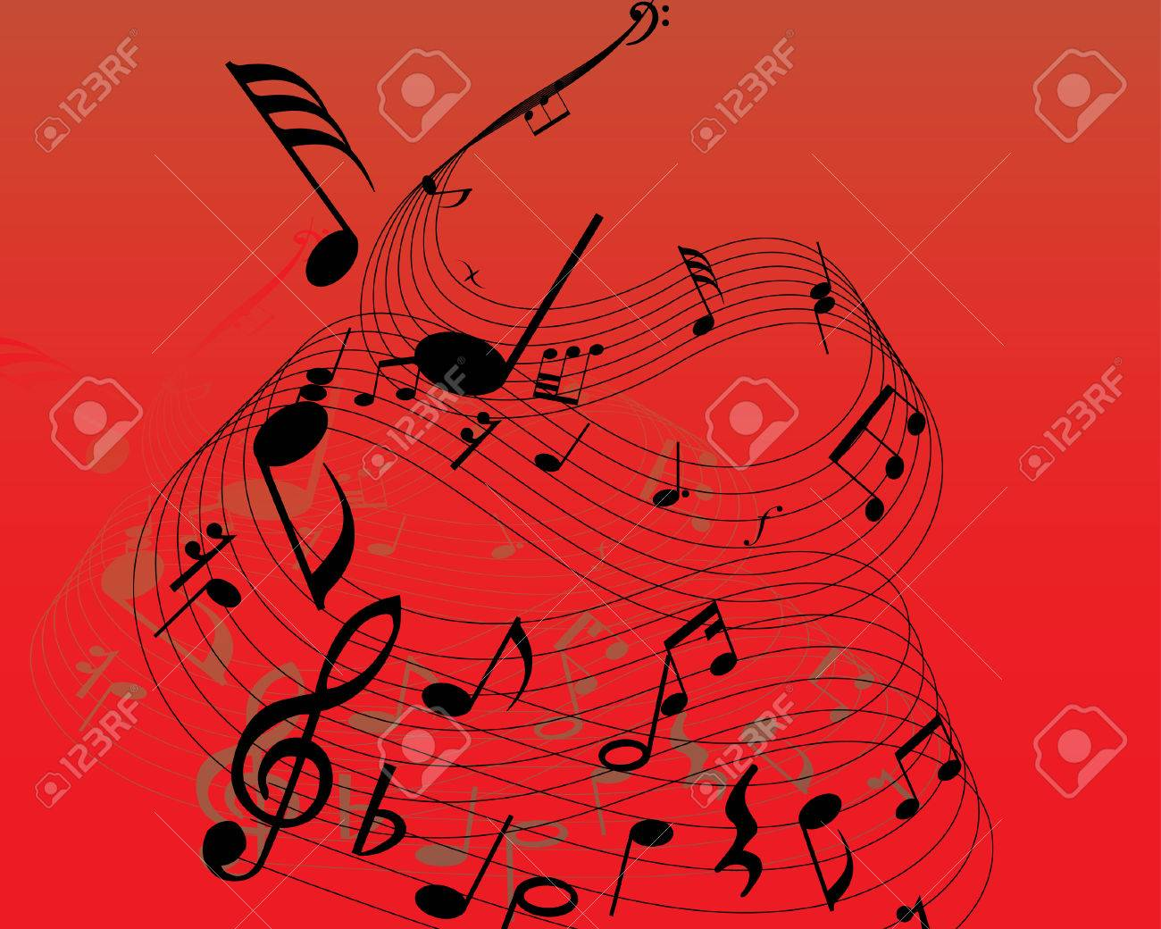Musical note staff on the red background Stock Vector - 3444612
