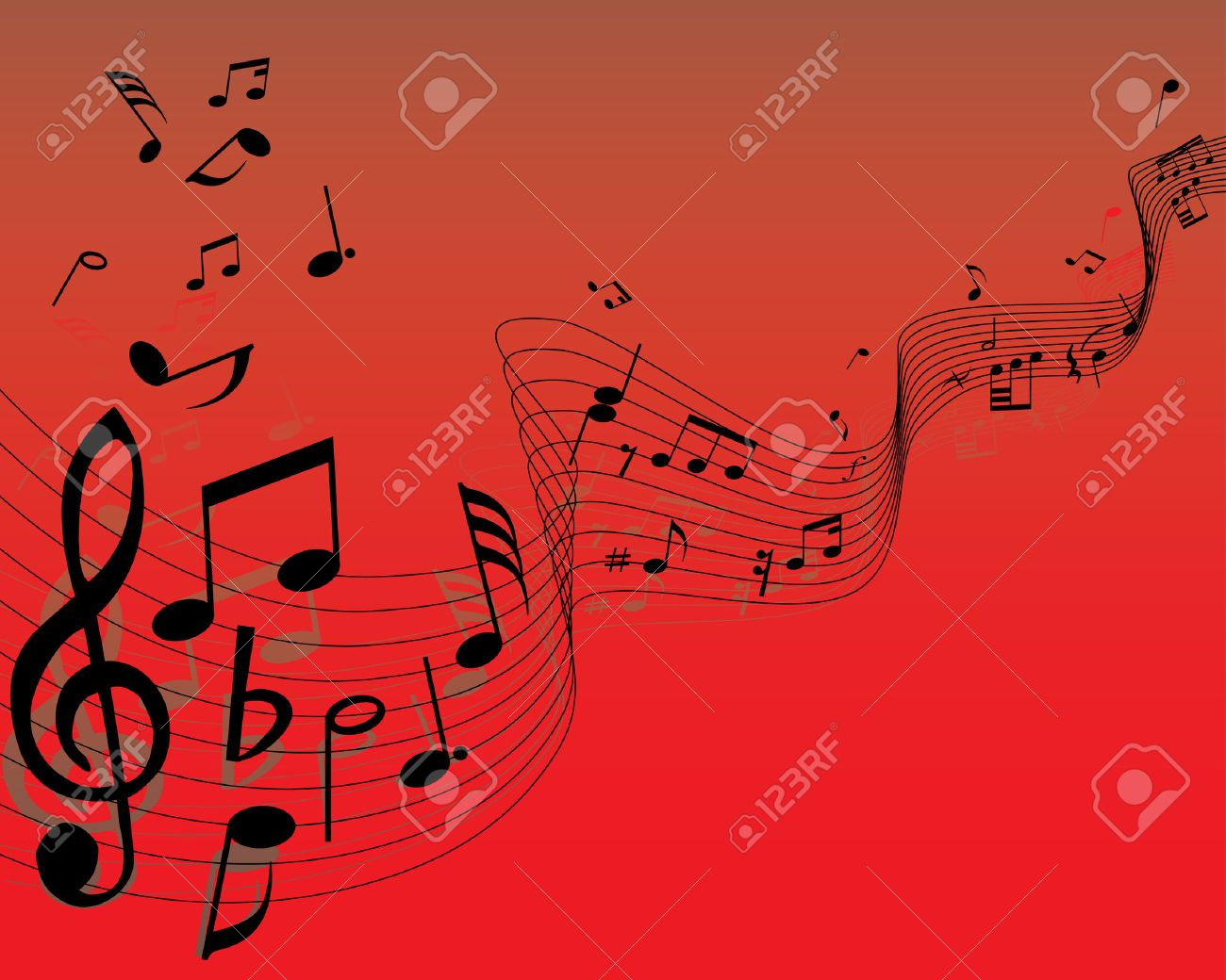 Musical note staff on the red background Stock Vector - 3444619