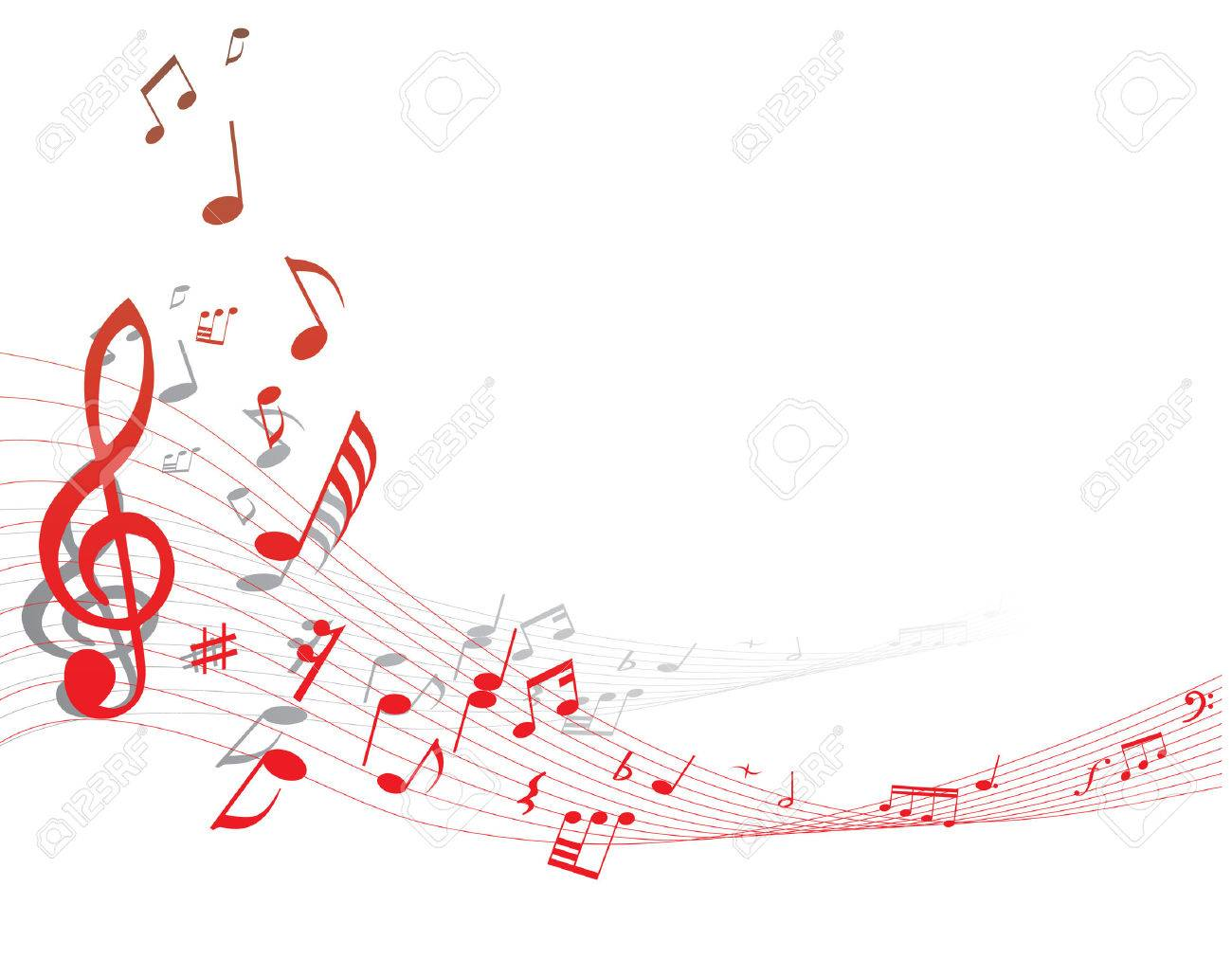 Musical notes staff background on white vector by tassel78 image - Quaver Notes Musical Note Staff On The Red Background Illustration