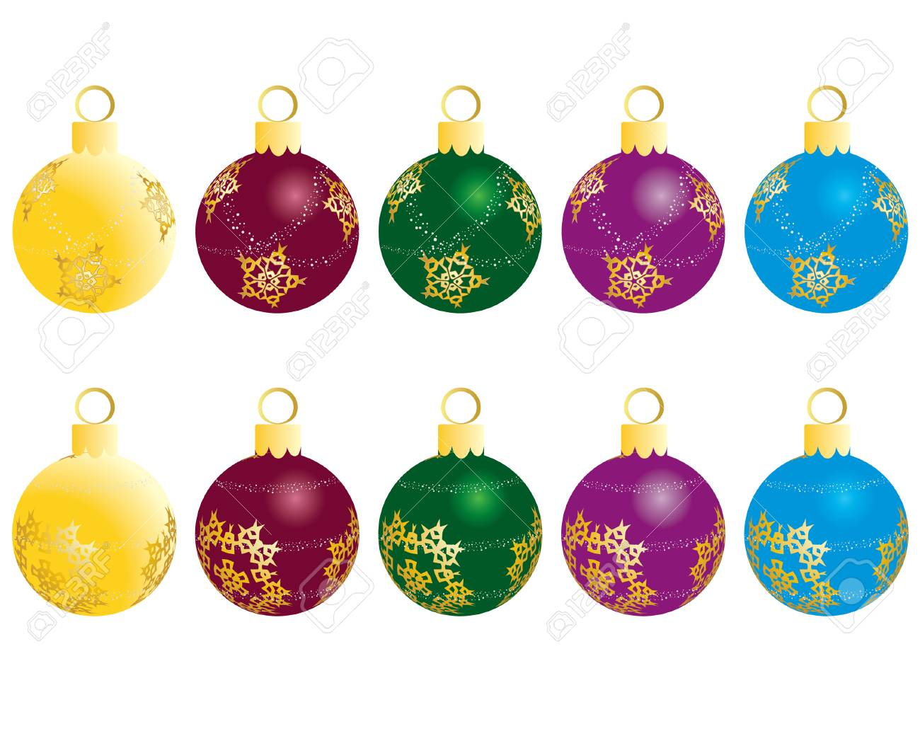 Set of Christmas (New Year) balls for design use. Vector illustration. Stock Vector - 3868197