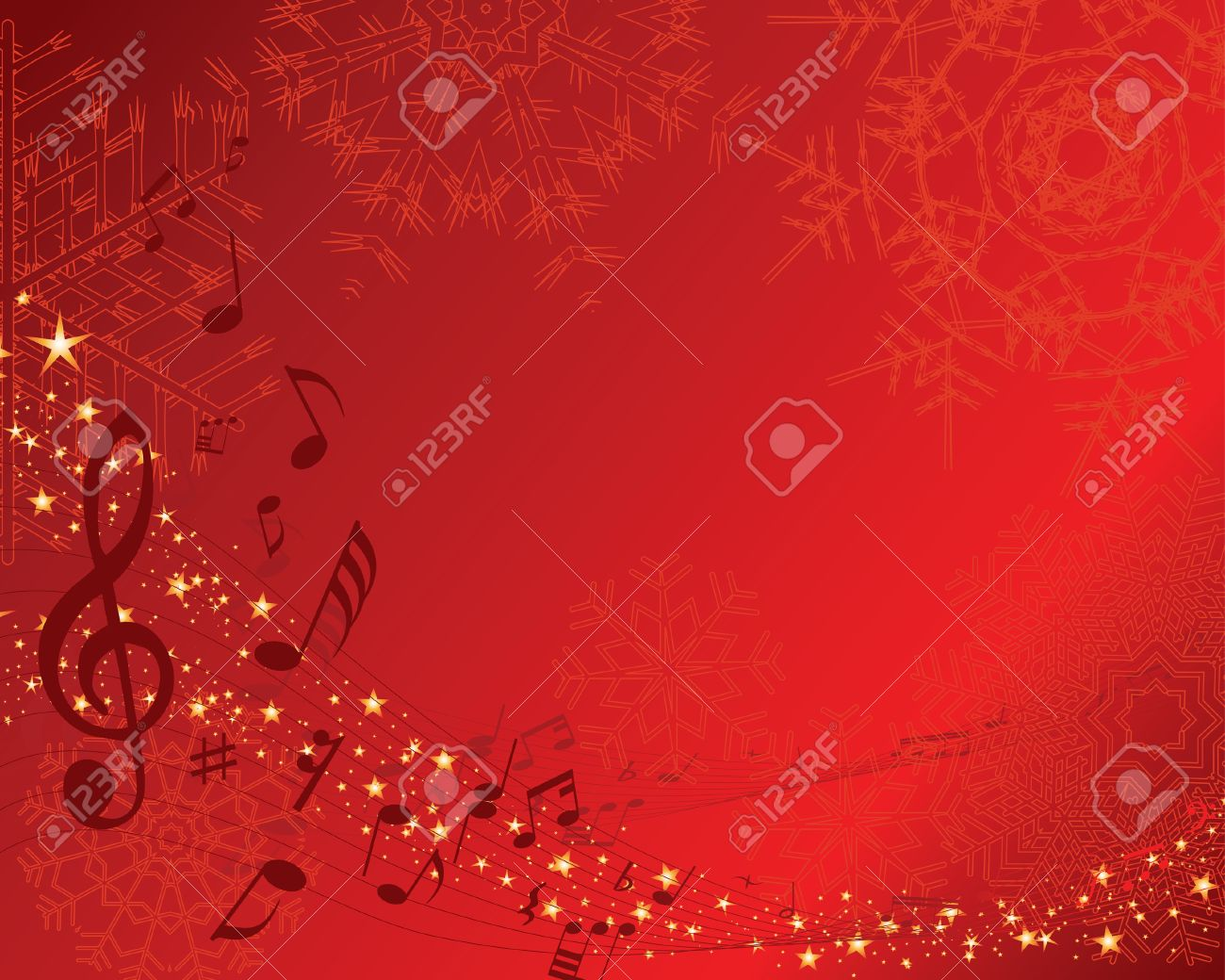 christmas new yeargreeting postcard with musical staff vector background stock vector